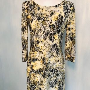 ABS sun yellow and black patterned midi dress.